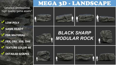 Low poly Black Sharp Modular Rock 210807
