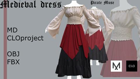 "Medieval dress "" Pirate muse"" Clo 3D / Marvelous Designer project +obj + fbx"