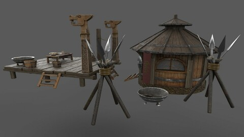 Historic Viking house with courtyard PBR low-poly 3D model Low-poly 3D model
