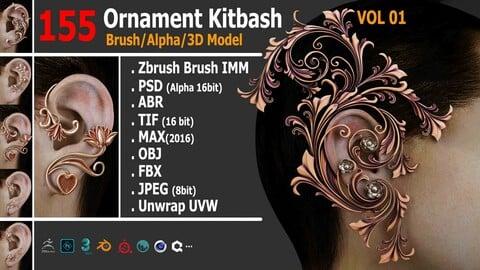 155 Ornament Brush/Alpha/3D Model VOL01
