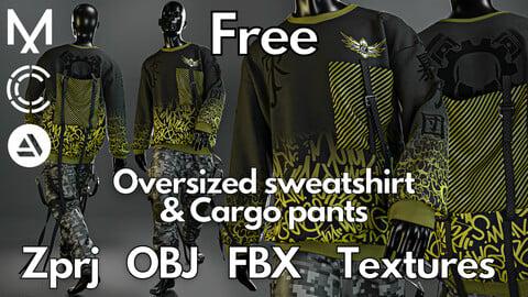 Marvelous Designer + Clo3d + OBJ + FBX + Texture : Oversized sweatshirt & cargo pants