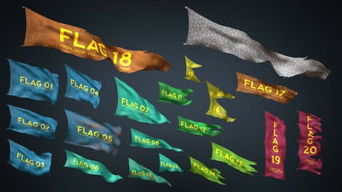 20 Fully Loop Animated Flags Mid-poly 3D model
