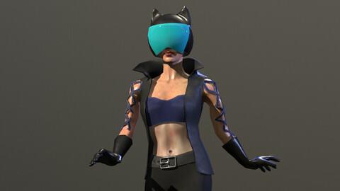 Low-Poly Girl in Helmet