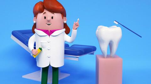 Cartoon female doctor nurse dental doctor oral department dental