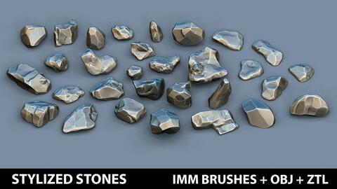 Zbrush - 30 Stylized Stones IMM Brushes