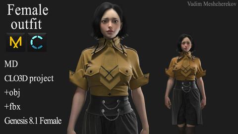 Female Outfit. Clo 3D / Marvelous Designer project +obj/fbx