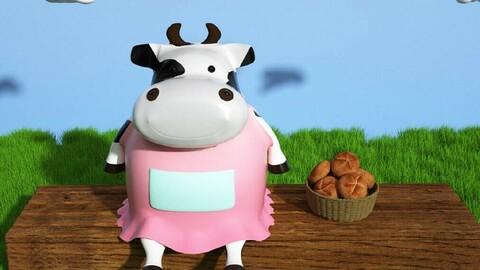 Cartoon cow farm animal animation cartoon character IP mascot Q