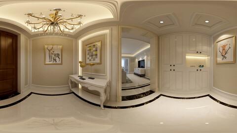 Panoramic neo-classical family entrance corridor