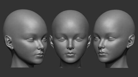 Female Asian Head Base Mesh