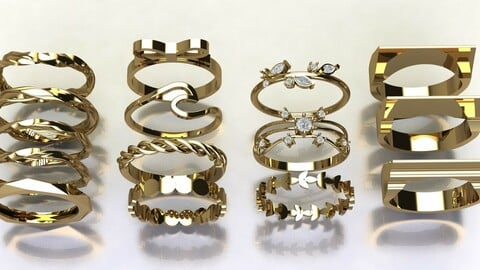 15 various gold ring in one file