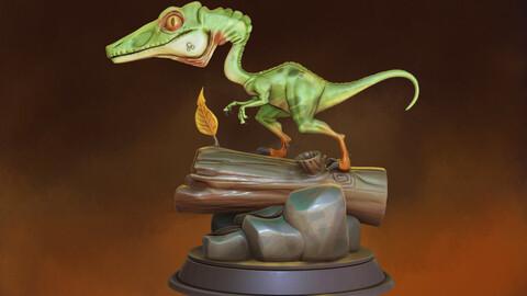Stylized Dinosaur Compsognathus 3D Print/Collectibles/Miniature
