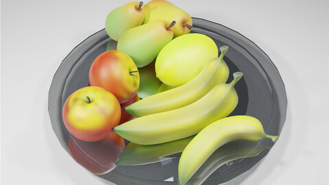 Low-poly fruits (peach, apple, banana)
