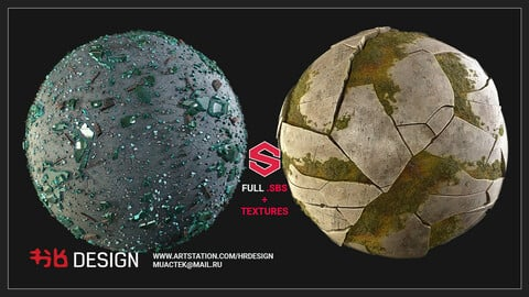 Substance Designer Glass and Stone Wall Materials (SBS+Textures)
