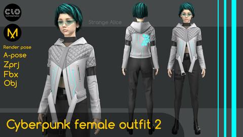 Cyberpunk female outfit 2. Clo3d, Marvelous Designer projects.