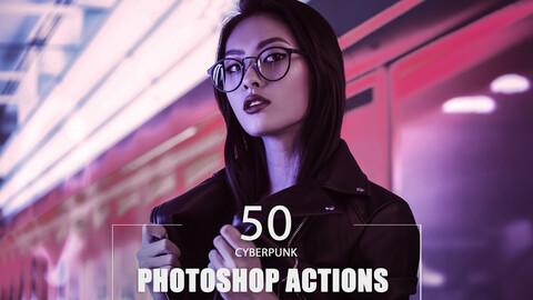 50 Cyberpunk Photoshop Actions