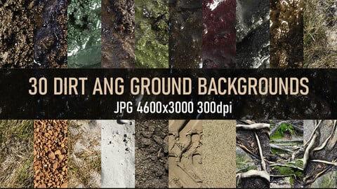 30 Dirt, mud, sand, grass, soil and ground reference photo textures.