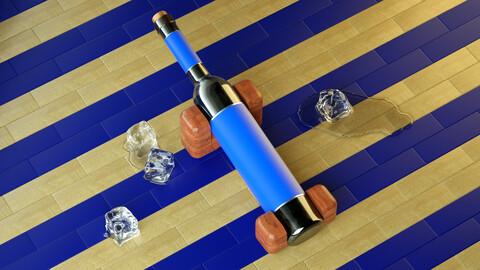 Melted ice ice ice bottle soft drink bottle wine bottle red bottle wine