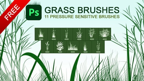 Free 11 grass and plants pressure sensitive photoshop brushes.