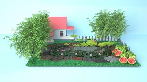 Lotus pond, lake pavilion, Lotus leaf pond, bamboo grove, farm yard,