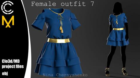 Female outfit 7. Marvelous Designer/Clo3d project + OBJ.