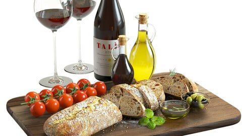 3D Model / Food Set 02 / Bread, Tomatoes, Olives and Wine