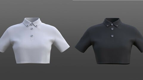 3D female crop top - black and white polo shirt