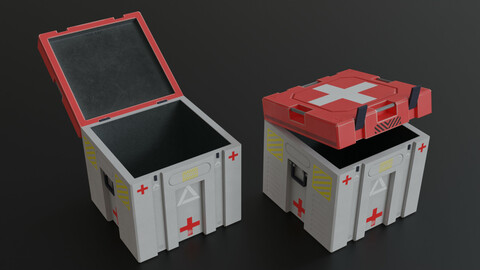 Crate SciFi First Aid Kit Low-poly