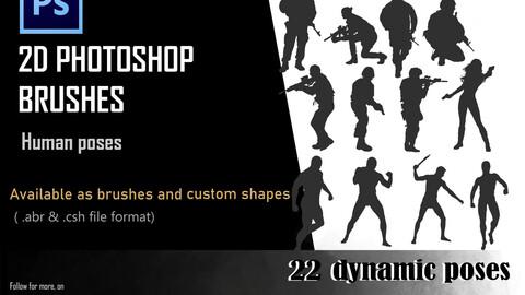 2D Human Pose brushes- Photoshop