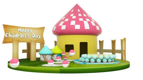 Children's Day farm sea ball mushroom room cartoon grass