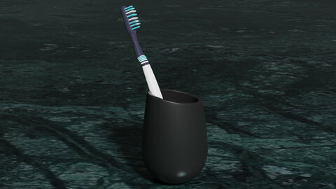 Toothbrush and Holder 3D model