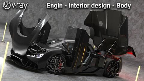 super car concept koeniggseg + engine & interior