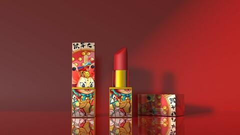 Lipstick cosmetics Guochao net red lipstick C4D China wind power