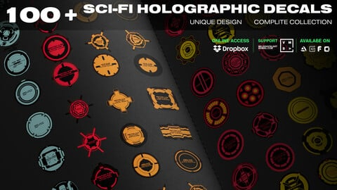 SCI-FI HOLOGRAPHIC DECALS 100+ UNIQUE DESIGN