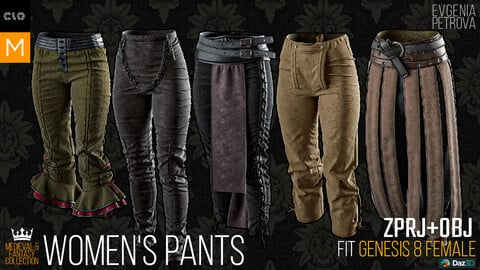 5 Pants. Clo3d, MD projects + OBJ. Medieval and Fantasy collection