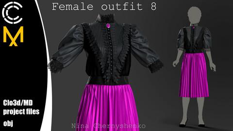 Female outfit 8. Marvelous Designer/Clo3d project + OBJ.