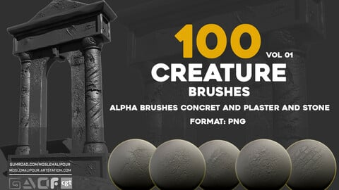 100 alpha brushes concret - stone - plaster