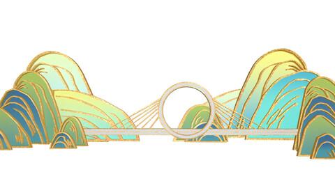 Guochao gilt landscape Zhengzhou ring bridge Chinese style paper-cut
