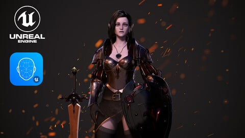 Knight Girl with Dark Elf skin Modular, Warrior Female - Game Ready