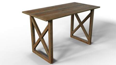 Old Wooden Table  (3d Model + PBR Texture)