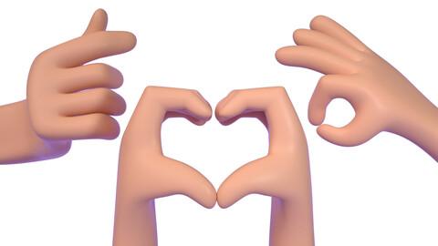 Cartoon heart than heart gesture gesture finger OK gesture finger