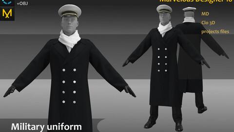 The German military uniform_ Winter coat Clo3d, Marvelous Designer Project + FBX + OBJ