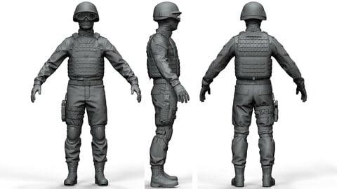 Police Special Force Officer (ztl/obj files)