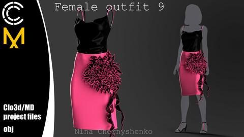 Female outfit 9. Marvelous Designer/Clo3d project + OBJ.