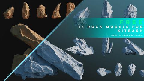 15 Rock Models For KitBash  (.obj .fbx .blend files)