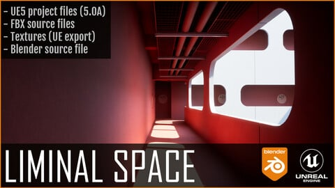 Liminal space recreation  -Project files / FBX + UE5 + Blend