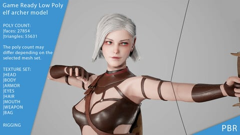 Elf Archer Game Ready Low Poly 3D model