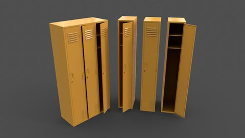 PBR School Gym Locker 03 - Yellow