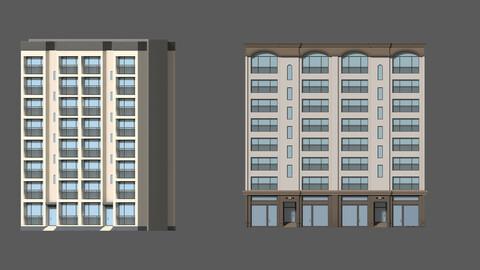Cartoon building Apartment house