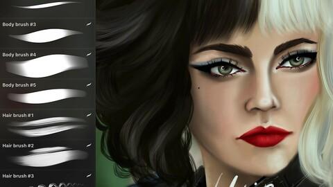 11 HAIR&BODY✨BRUSHES+Skin palette for procreate art