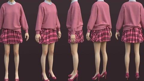 plaid pleated mini skirt and sweater cardigan - school uniform 3D model